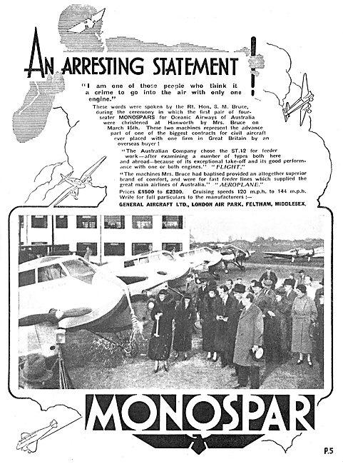General Aircraft Monospar ST12 : London Air Park