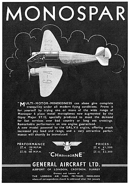 General Aircraft Monospar : ST4 : ST12 : ST11 : G-ACTS