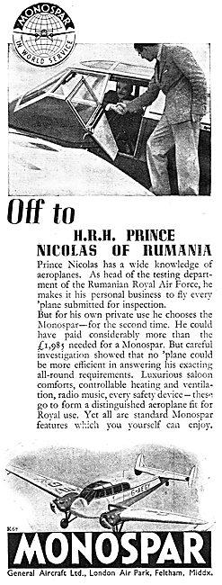 General Aircraft Monospar: Prince Nicolas Of Rumania
