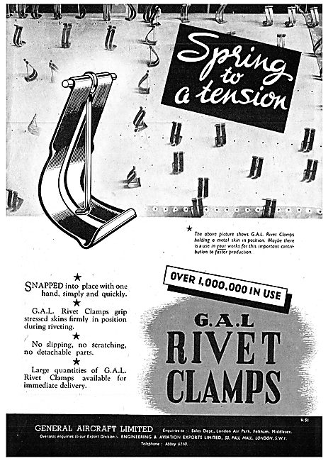 General Aircraft GAL Cox Rivets, Clamps & Distance Tubes