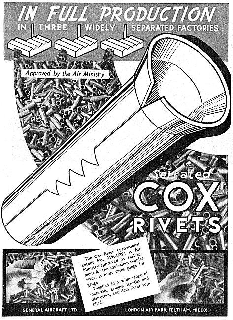 General Aircraft Ltd - heston. Cox Rivets