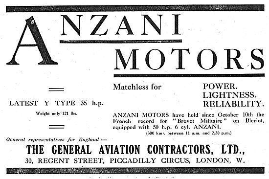 General Aviation Contractors Representatives For Anzani Motors