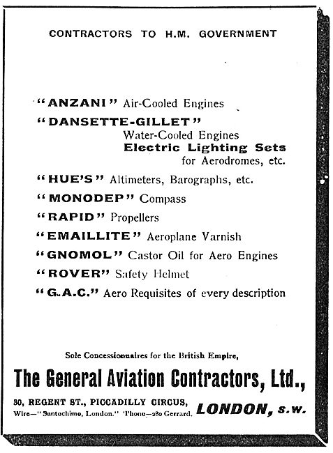 General Aviation Contractors - Concessionaires For Anzani Engines