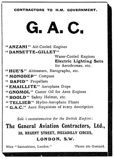 General Aviation Contractors - 1913 Listings