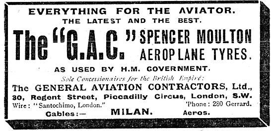 General Aviation Contractors. Spencer Moulton Aeroplane Tyres