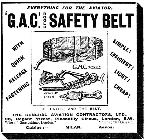 General Aviation Contractors. G.A.C Roold Safety Belt