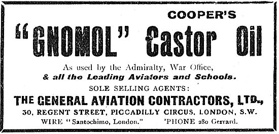 General Aviation Contractors - Agents For Gnomol Castor Oil