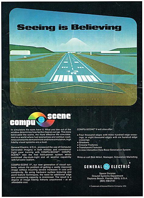 General Electric Computer Generated Flight Simulator Scenery 1979