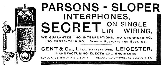 Gent & Co. Parsons-Sloper Secure Telephony. 1920