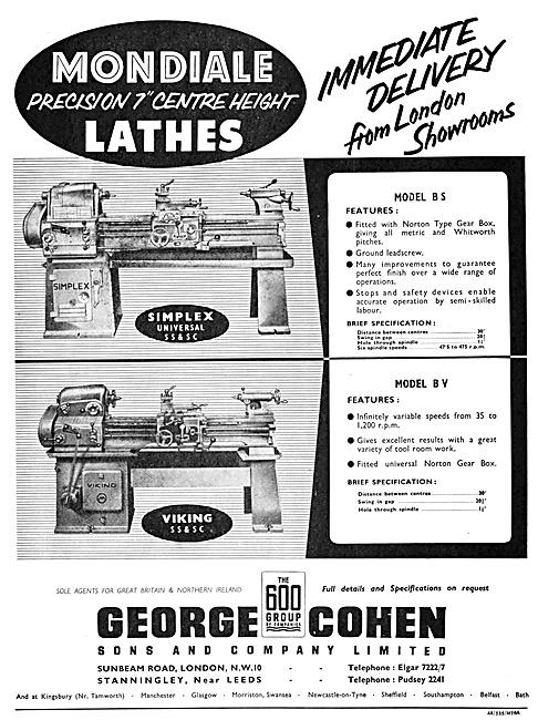 George Cohen Machine Tools Mondiale Lathes