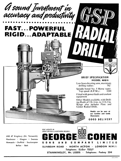 George Cohen Machine Tools GSP Radioal Drill