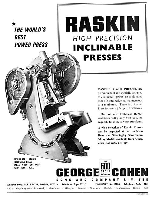 George Cohen Machine Tools RASKIN Inclinable Presses