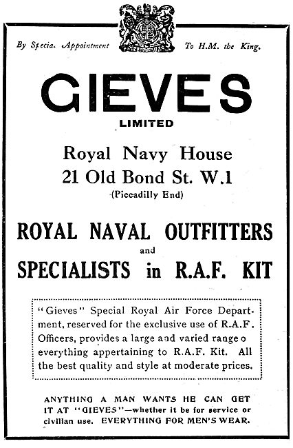 Gieves R.A.F. .& R.N. Outfitters. 1920