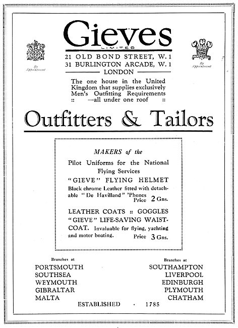 Gieves Uniforms For RAF Officers 1929 Advert - NFS Uniforms