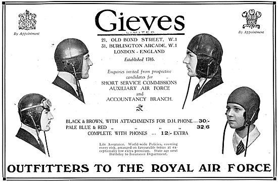 Gieves RAF Uniforms & Flying Kit 1930