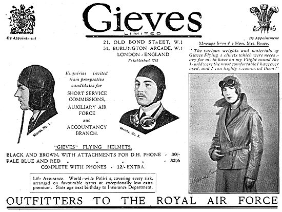 Gieves Uniforms & Flying Clothing For RAF & RN Officers.