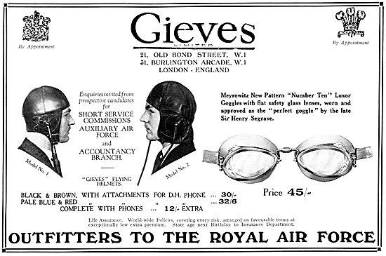 Gieves RAF Uniforms & Flying Kit 1931