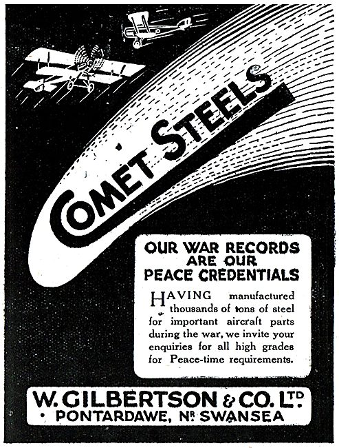 W.Gilbertson & Co. Pontardawe, Swansea. Comet Steels