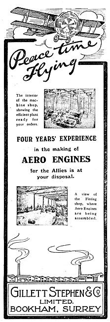 Gillett Stephen & Co - Engine Manufacturers. 1919 Advert