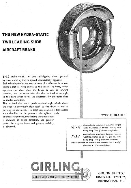 Girling Aircraft Brakes - Hydra-Static Two Leading Shoe Brake