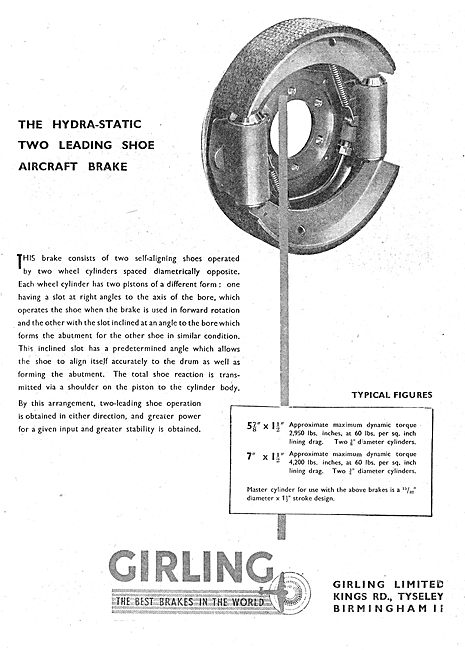 Girling Hydra-Static Two Leading Shoe Aircraft Brake