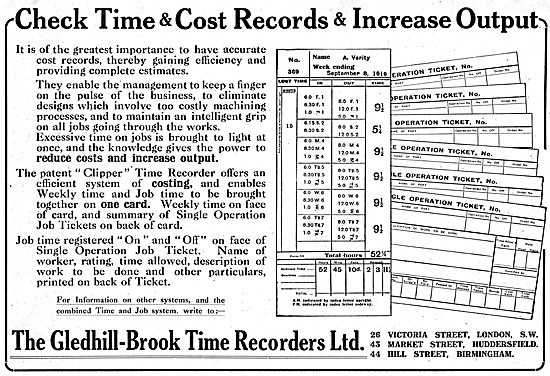 The Gledhill-Brook Clipper Factory Time Recorder