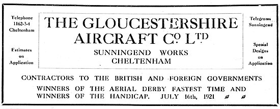 Gloster Aircraft Co. Winners Aerial Derby July 1921