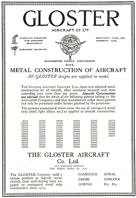 Gloster Metal Aircraft List Of Patent Concerning Metal