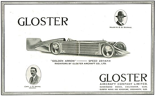 Major Seagrave's Golden Arrow Car Used Gloster Radiators