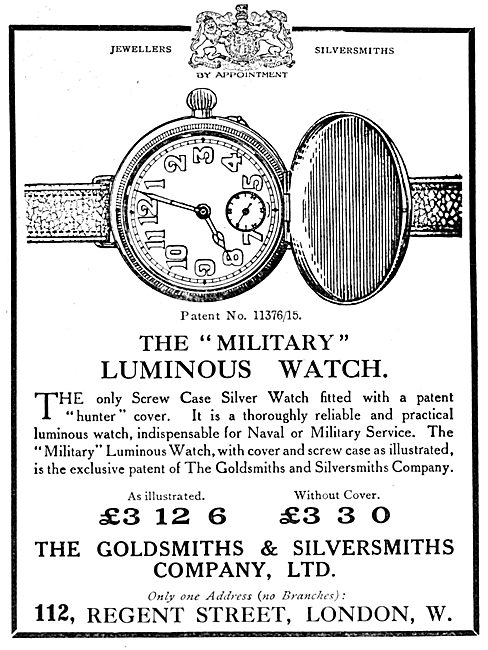 The Goldsmiths and Silversmiths Co. Military Luminous Watch 1916