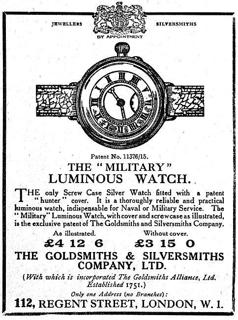 The Goldsmiths and Silversmiths Co - Military Luminous Watch 1918