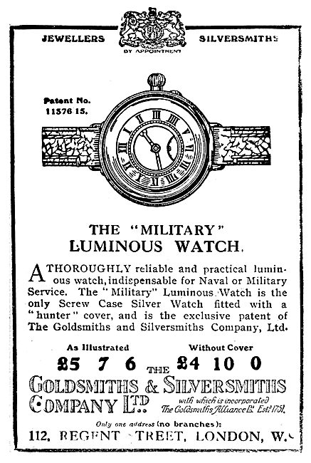 The Goldsmiths and Silversmiths Company, Military Watch 1919