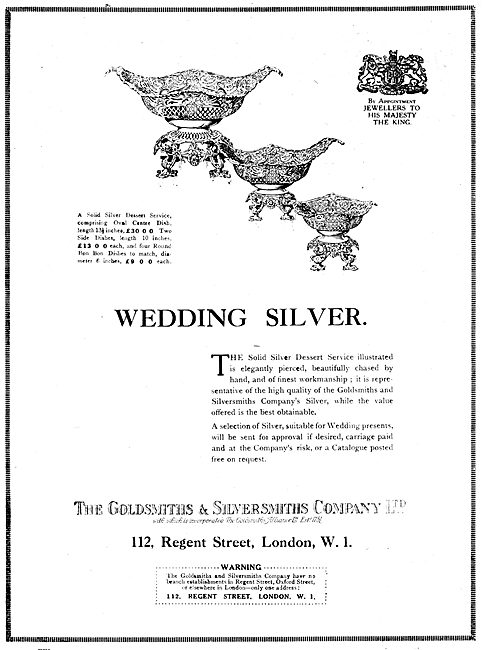 The Goldsmiths and Silversmiths Company. Wedding Silver
