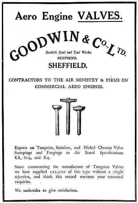 Goodwin & Co. Scottish Steel & Tool Works. Aero Engine Valves