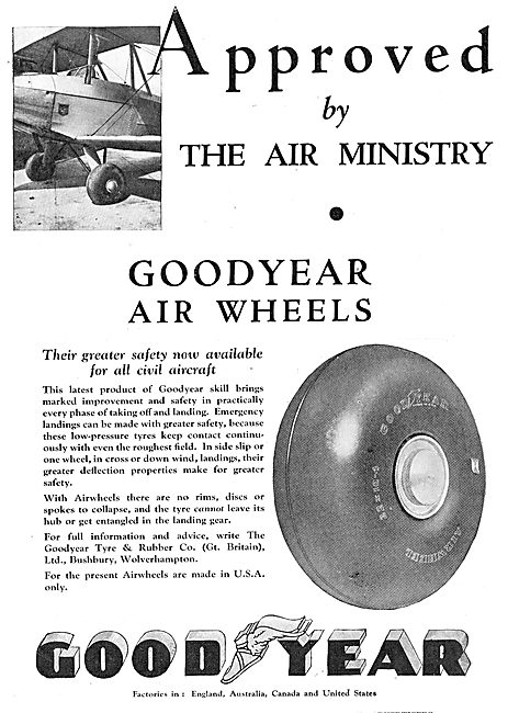 Goodyear Air Wheels Approved By The Air Ministry