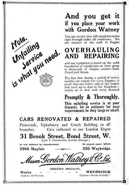 Gordon Watney, Weybridge. Motor &  Aeronautical Engineers