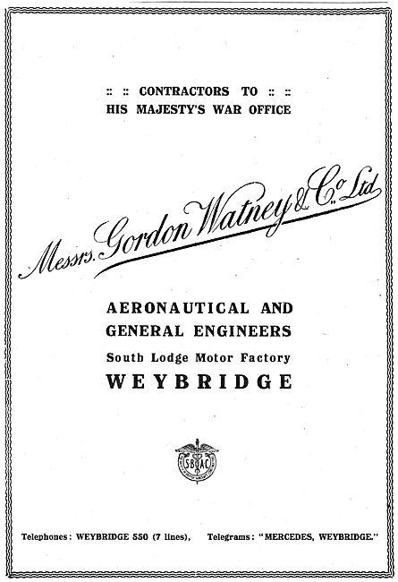 Gordon Watney, Weybridge. Aeronautical Engineers