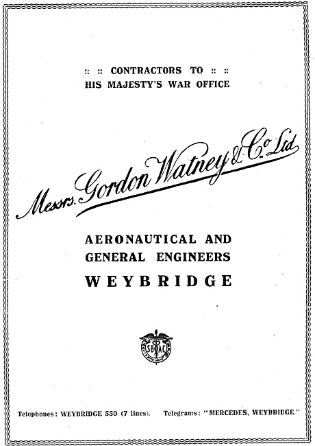 Gordon Watney, Weybridge. Aeronautical Engineers