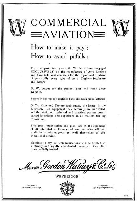 Gordon Watney, Weybridge. Aeronautical & Motor Engineers