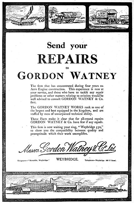 Gordon Watney, Weybridge. Motor & Aeronautical Engineers