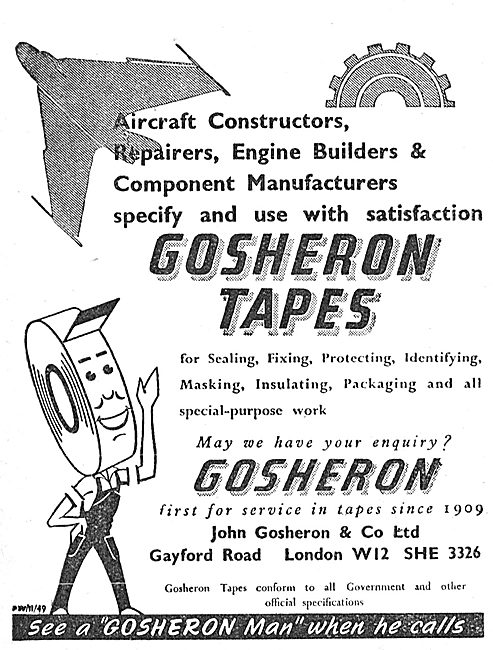 Gosheron Industrial Tapes For Aviation. 1950 Advert