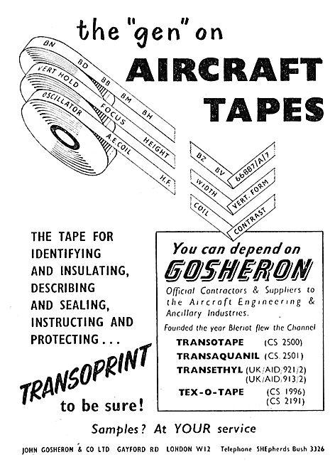 Gosheron Aircraft Identification Marking Tapes & Labels