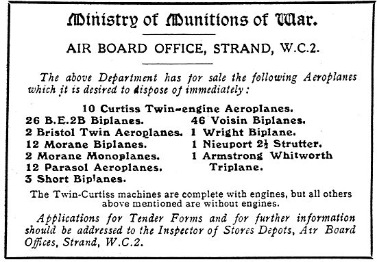 Ministry Of Munitions Of War Offers These  Aeroplanes For Sale