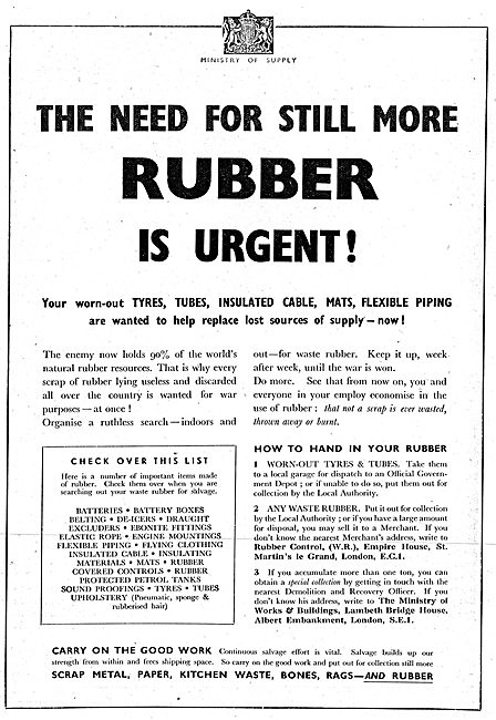 Ministry Of Supply. Disposal & Conservation Of Rubber. 1942