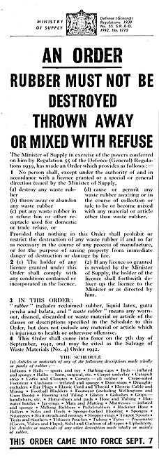 Ministry Of Supply. Disposal & Conservation Of Rubber Regulations