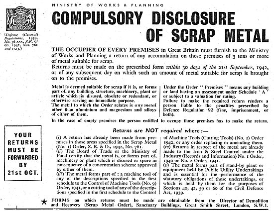 Ministry Of Supply. Disclosure & Collection Of Scrap Metals