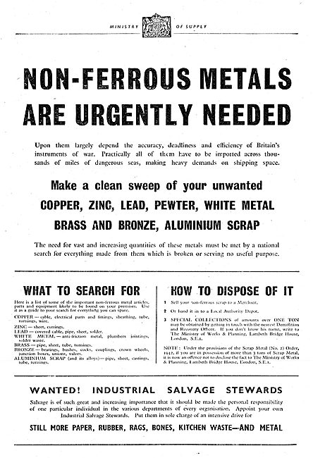 Ministry Of Supply. Disclosure & Collection Of Scrap Metals 1942