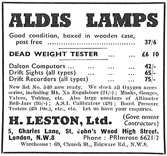 H.Leston - War Surplus Aldis Lamps 1947