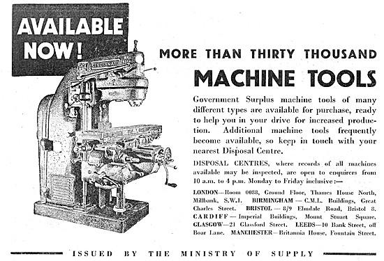Ministry Of Supply Surplus Machine Tools