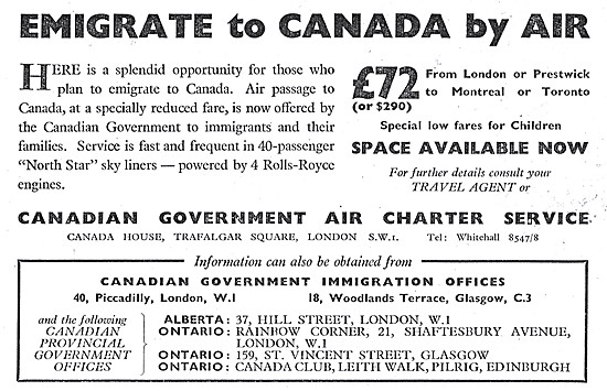 Emigrate To Canada. Canadian Government Air Charter Service.